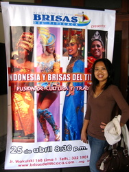 Wuri in Peru with her life size poster